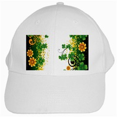 Flower Shamrock Green Gold White Cap by Mariart