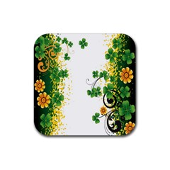 Flower Shamrock Green Gold Rubber Square Coaster (4 Pack)  by Mariart