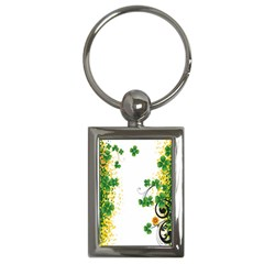 Flower Shamrock Green Gold Key Chains (rectangle)  by Mariart