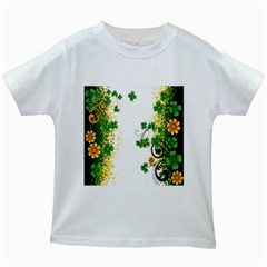 Flower Shamrock Green Gold Kids White T Shirts by Mariart