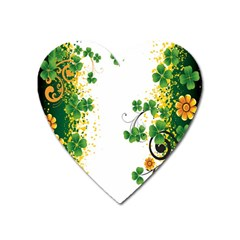 Flower Shamrock Green Gold Heart Magnet by Mariart