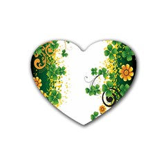 Flower Shamrock Green Gold Heart Coaster (4 Pack)  by Mariart