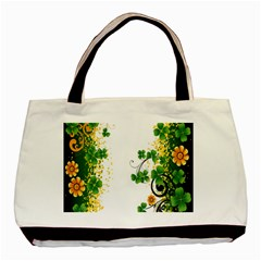 Flower Shamrock Green Gold Basic Tote Bag (two Sides) by Mariart