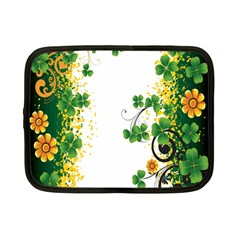 Flower Shamrock Green Gold Netbook Case (small)  by Mariart