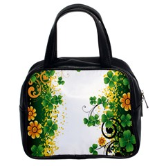 Flower Shamrock Green Gold Classic Handbags (2 Sides) by Mariart