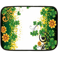 Flower Shamrock Green Gold Double Sided Fleece Blanket (mini)  by Mariart