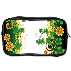 Flower Shamrock Green Gold Toiletries Bags 2 Side by Mariart