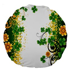 Flower Shamrock Green Gold Large 18  Premium Round Cushions by Mariart