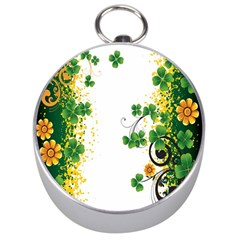 Flower Shamrock Green Gold Silver Compasses by Mariart
