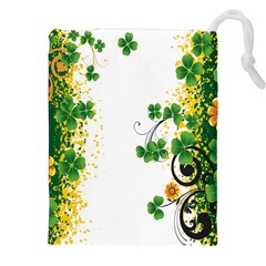 Flower Shamrock Green Gold Drawstring Pouches (xxl) by Mariart