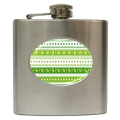 Flower Floral Green Shamrock Hip Flask (6 Oz) by Mariart
