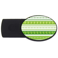 Flower Floral Green Shamrock Usb Flash Drive Oval (2 Gb) by Mariart