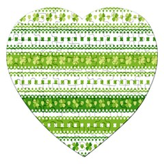 Flower Floral Green Shamrock Jigsaw Puzzle (heart) by Mariart