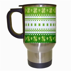 Flower Floral Green Shamrock Travel Mugs (white) by Mariart