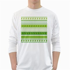 Flower Floral Green Shamrock White Long Sleeve T Shirts by Mariart