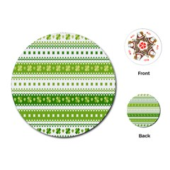Flower Floral Green Shamrock Playing Cards (round)  by Mariart