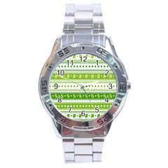 Flower Floral Green Shamrock Stainless Steel Analogue Watch by Mariart