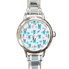 Frog Green Pink Flower Round Italian Charm Watch by Mariart