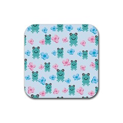 Frog Green Pink Flower Rubber Square Coaster (4 Pack)  by Mariart