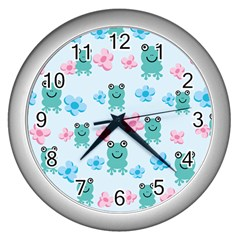 Frog Green Pink Flower Wall Clocks (silver)  by Mariart