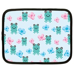 Frog Green Pink Flower Netbook Case (large) by Mariart
