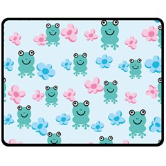 Frog Green Pink Flower Fleece Blanket (medium)  by Mariart