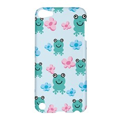 Frog Green Pink Flower Apple Ipod Touch 5 Hardshell Case by Mariart
