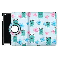 Frog Green Pink Flower Apple Ipad 3/4 Flip 360 Case by Mariart