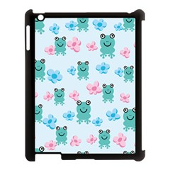 Frog Green Pink Flower Apple Ipad 3/4 Case (black) by Mariart
