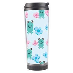 Frog Green Pink Flower Travel Tumbler by Mariart