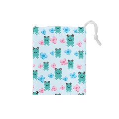 Frog Green Pink Flower Drawstring Pouches (small)  by Mariart