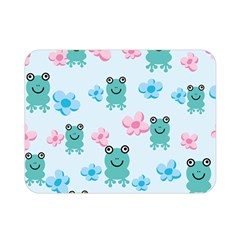 Frog Green Pink Flower Double Sided Flano Blanket (mini)  by Mariart