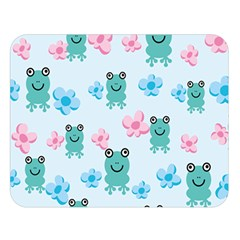 Frog Green Pink Flower Double Sided Flano Blanket (large)  by Mariart
