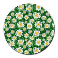 Flower Sunflower Yellow Green Leaf White Round Mousepads by Mariart