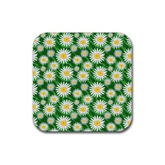 Flower Sunflower Yellow Green Leaf White Rubber Coaster (square)  by Mariart