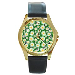 Flower Sunflower Yellow Green Leaf White Round Gold Metal Watch by Mariart