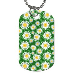Flower Sunflower Yellow Green Leaf White Dog Tag (one Side) by Mariart
