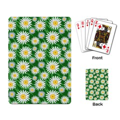 Flower Sunflower Yellow Green Leaf White Playing Card by Mariart