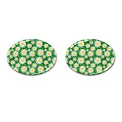 Flower Sunflower Yellow Green Leaf White Cufflinks (oval) by Mariart