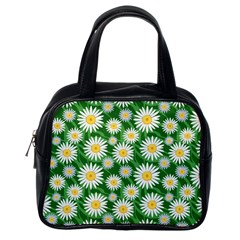 Flower Sunflower Yellow Green Leaf White Classic Handbags (one Side) by Mariart