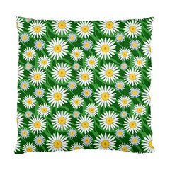 Flower Sunflower Yellow Green Leaf White Standard Cushion Case (two Sides) by Mariart