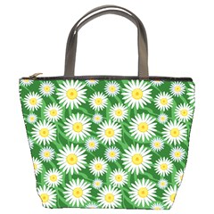 Flower Sunflower Yellow Green Leaf White Bucket Bags by Mariart