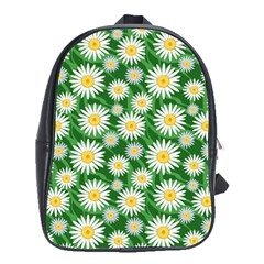 Flower Sunflower Yellow Green Leaf White School Bags(large)