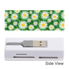 Flower Sunflower Yellow Green Leaf White Memory Card Reader (stick)  by Mariart