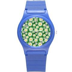 Flower Sunflower Yellow Green Leaf White Round Plastic Sport Watch (s) by Mariart
