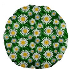 Flower Sunflower Yellow Green Leaf White Large 18  Premium Round Cushions by Mariart