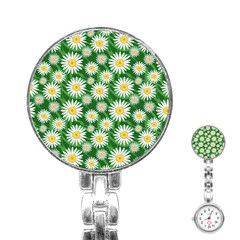 Flower Sunflower Yellow Green Leaf White Stainless Steel Nurses Watch by Mariart