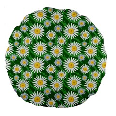 Flower Sunflower Yellow Green Leaf White Large 18  Premium Flano Round Cushions by Mariart