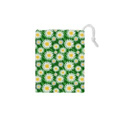 Flower Sunflower Yellow Green Leaf White Drawstring Pouches (xs)  by Mariart
