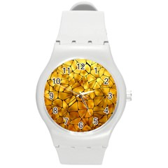 Gold Round Plastic Sport Watch (m) by Mariart